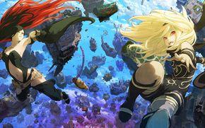 ����: Gravity_rush_2, Girls, power, destruction, rocks, falling, movement