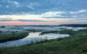 Пейзажи: Утро, восход солнца, лето, Пушкинские горы, Россия, рассвет, речка, туман, трава, небо, облака, деревья, кусты, природа, пейзаж