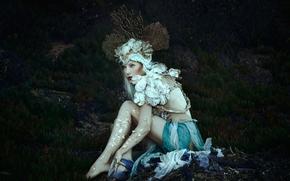 Стиль: Jessica Dru, сирена, наряд, корона, кораллы, фантазия
