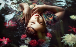 Настроения: Chloe Abigail, цветы, венок, вода, настроение