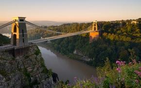 Пейзажи: Clifton Suspension Bridge, Avon Gorge, Clifton, Bristol, England, River Avon, Клифтонский мост, Эйвонское ущелье, Клифтон, Бристоль, Англия, река Эйвон, мост, река, цветы, панорама