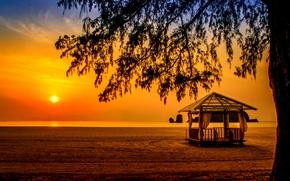 Пейзажи: Tanjung Rhu Beach, Langkawi, Malaysia, Andaman Sea, Лангкави, Малайзия, Андаманское море, закат, море, пляж, беседка, дерево