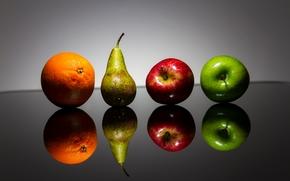 Разное: фрукты, яблоки, груша, апельсин