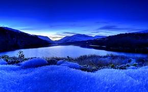 Пейзажи: Llyn Padarn Lake, Snowdonia, закат, озеро, пейзаж