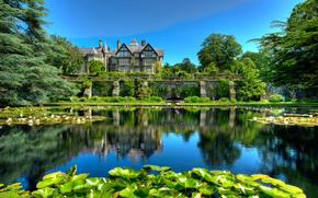 Пейзажи: Bodnant Gardens, Great Britain, парк, дом, пруд, деревья, пейзаж