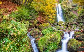 Природа: водопады, осень, камни, деревья, природа