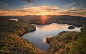 Пейзажи: Nichols Pond, Woodbury, Vermont, Вудбери, Вермонт, пруд, озеро, закат, лес, осень, панорама