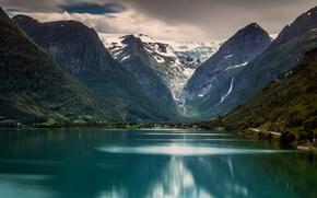 Пейзажи: Briksdalsbreen, Briksdal glacier, Jostedalsbreen National Park, Stryn, Norway, Ледник Бриксдаль, Национальный парк Йостедалсбреен, Стрюн, Норвегия, озеро, горы
