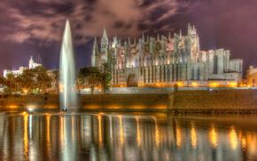 Город: Cathedral of Santa Maria of Palma, Palma Cathedral, La Seu, Palma, Majorca, Spain, Кафедральный собор Санта-Мария, Пальмский собор, Ла Сеу, Пальма-де-Мальорка, Испания, собор, водоём, фонтан, стена, набережная