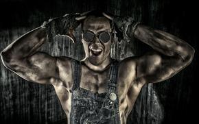 парень, работяга, мышцы, очки обои, фото
