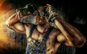 парень, чумазый, работяга, руки, очки обои, фото