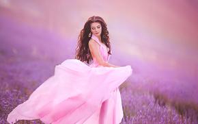 Стиль: модель, макияж, платье, луг, лаванда