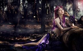 Настроения: азиатка, наряд, украшения, настроение, лес