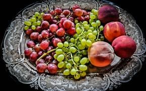 Разное: блюдо, виноград, персики, фрукты