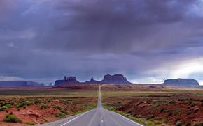 Пейзажи: Monument Valley, Utah, дорога, тучи, пейзаж