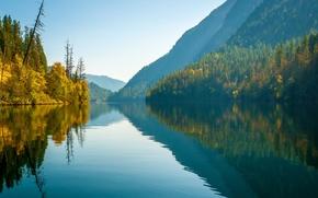 Пейзажи: Echo Lake, Monashee Mountains, British Columbia, Canada, озеро Эко, горы Монаши, Британская Колумбия, Канада, осень, озеро, горы, лес, отражение