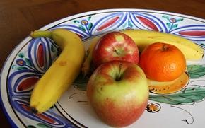Разное: блюдо, фрукты, яблоки, банан, мандарин
