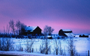 Пейзажи: закат, зима, дома, деревья, пейзаж, на холсте