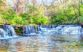 Природа: река, водопад, деревья, скалы, природа