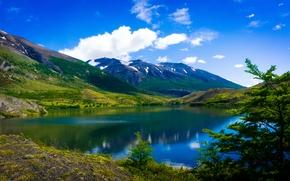 Пейзажи: Torres del Paine National Park, Patagonia, Chile, Торрес-дель-Пайне, Патагония, Чили, озеро, горы