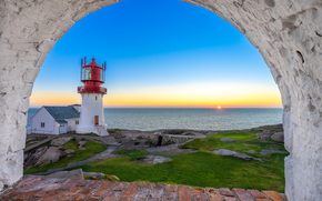 Пейзажи: Lindesnes Lighthouse, North Sea, Lindesnes, Norway, Маяк Линдеснес, Северное море, Линнеснес, Норвегия, маяк, море, закат