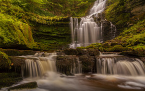 Природа: Scaleber Force Falls, Yorkshire Dales National Park, England, Йоркшир-Дейлс, Англия, водопад, каскад