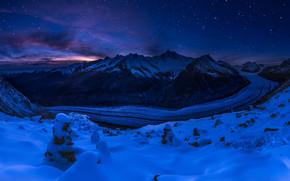 Пейзажи: Алеч ледник, Швейцария, горы, закат, пейзаж