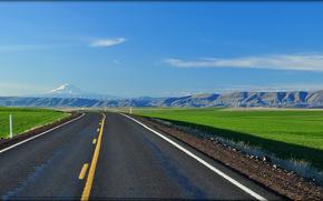 Пейзажи: Дорога, Орегон, поле, горы, пейзаж