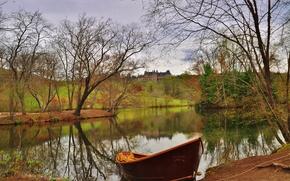 Пейзажи: Asheville, North Carolina, Biltmore House, озеро, лодка, осень, пейзаж