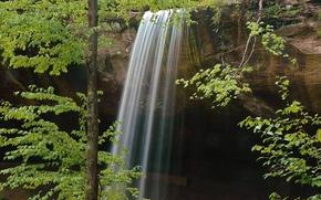 Природа: деревья, скалы, водопад, природа