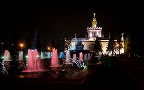 Город: Ночь, ВДНХ, Москва, Россия, архитектура, СССР, фонтан, здание, деревья, город