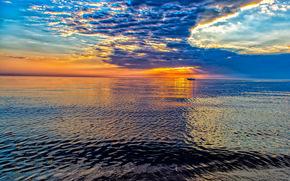 Пейзажи: Lake Michigan, озеро Мичиган, озеро, рябь, закат, катер