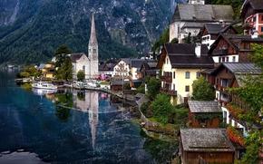 Город: Hallstatt, Austria, Lake Hallstatt, Alps, Гальштат, Австрия, Гальштатское озеро, Альпы, озеро, горы, дома