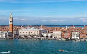 Город: Venice, Italy, Grand Canal, Piazza San Marco, St Mark's Campanile, Doge's Palace, Венеция, Италия, Гранд-канал, Площадь Святого Марка, Кампанила собора Святого Марка, Дворец дожей, канал, набережная, здания, дворец, башня, колокольня, ка