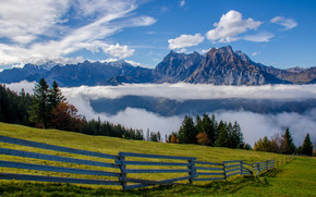 Пейзажи: Uri-Rotstock, Brunnistock, Uri Alps, Alps, Switzerland, Альпы, Швейцария, горы, луг, забор, облака