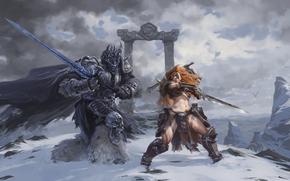 Игры: Heroes of the Storm, Arthas, The Lich King, Sonya, Wandering Barbarian, Артас, Король-лич, Соня, Странствующий варвар, меч, сражение, битва