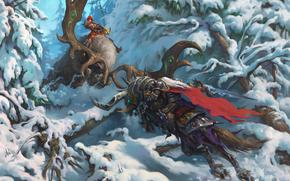 Игры: Heroes of the Storm, Arthas, The Lich King, Valla, Demon Hunter, Артас, Король-лич, Валла, Охотница на демонов, сражение, битва, зима, снег