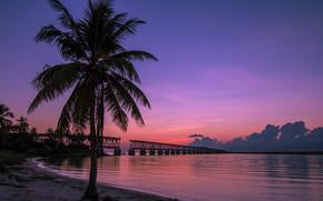 Пейзажи: Bahia Honda State Park, Old Bahia Honda Railroad Bridge, Баия Хонда Парк, штат Флорида, закат, пейзаж