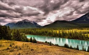 Пейзажи: Bow River, Canada, горы, река, железная, дорога, пейзаж