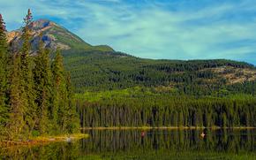 Пейзажи: Pyramid Lake, Jasper, Canada, озеро, горы, деревья, пейзаж