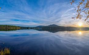 Пейзажи: закат, озеро, пейзаж, Даларна, Швеция