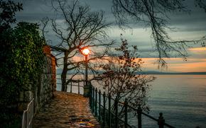 Пейзажи: Береговая линия эспланада в Опатии, Kroatia, вечер, закат, пейзаж