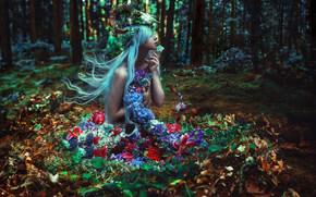 Настроения: SuzAnne Steben, нимфа, лес, цветы, череп, настроение