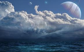 Рендеринг: море, небо, планета