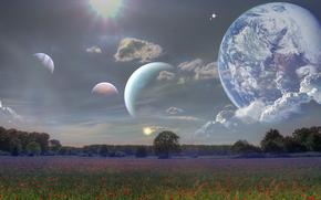 Рендеринг: поле, небо, планеты