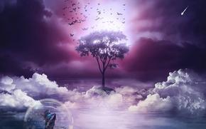 Рендеринг: дерево, бабочки, лодка, девушка, 3d, art