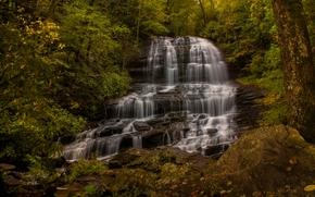 Пейзажи: Pearson's Falls, Saluda, North Carolina, Водопад Пирсона, Салуда, Северная Каролина, водопад, каскад, лес, осень