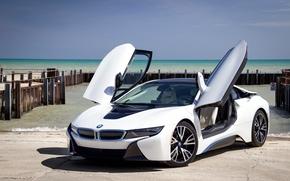 Машины: BMW i8, sports car, спорткар, купе, причал, море