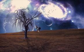 Рендеринг: поле, девочка, дерево, качели, планета, сюрреализм, фантасмагория, 3d, art