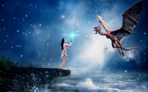 Фантастика: море, девушка, дракон, сюрреализм, фантасмагория, 3d, art